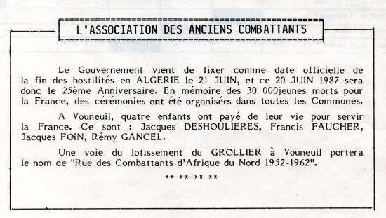 21 juin 1987 vouneuil sous biard fin des hostilites