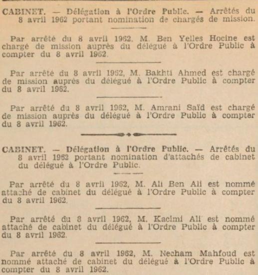 Cabinet delegue ordre publice