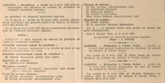 Cabinet du president fares au 8 avril 1962