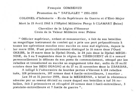 Colonel d infinterie francois combeau